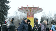 Carousel, Shrovetide (Maslenitsa) celebration in Kiev, Ukraine. Stock Footage