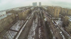 Cityscape with traffic and houses of residential complex Stock Footage