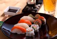 Sushi with beer Stock Photos