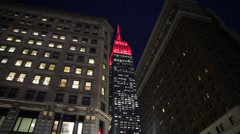 Empire State Building in New York Night Illuminated Red Stock Video Stock Footage