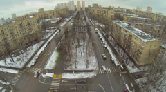 Cityscape with traffic on crossroad and boulevard Stock Footage