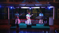 Cruise ship Caribbean band show at pool HD 0784 - stock footage