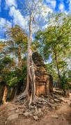 ancient khmer architecture. ta prohm temple, angkor wat, siem reap, cambodia - stock photo