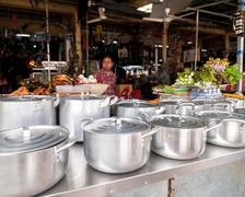 Siem reap, cambodia. people selling food at marketplace Stock Photos