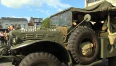 American World War II Jeep driving bye Stock Footage