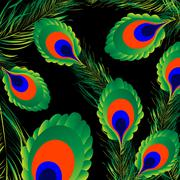 Peacock feathers background Stock Illustration