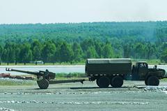Army truck transports a gun Stock Photos