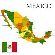 Mercator map of Mexico and flag - stock illustration