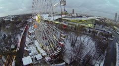 Panorama of Russian Exhibition Center with ferris wheel Stock Footage