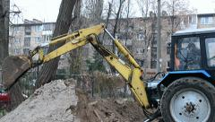 Yellow excavator grab the ground, technology. Stock Footage