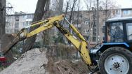 Stock Video Footage of yellow excavator grab the ground, technology.
