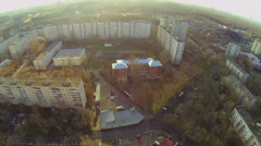 Panorama of megalopolis with dwelling houses and building site Stock Footage