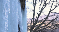 Icicles on waterfall, water flows in slow motion, background tree Stock Footage