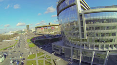 City traffic near Business Center Diamond Hall Stock Footage