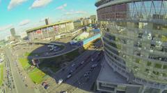 City traffic on street near Business Center Diamond Hall Stock Footage