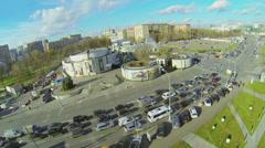 Traffic on crossroad near Durov Animal Theater at autumn day Stock Footage