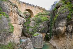 View of Ronda Bridge and canyon Stock Photos