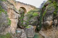 Stock Photo of View of Ronda Bridge and canyon