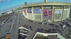 Car traffic near Olympiysky Sports Complex at sunny autumn day Stock Footage