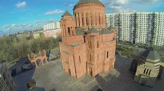 Traffic on street near cathedral Armenian church Surb Khach Stock Footage