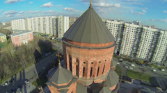 Edifice of cathedral Armenian church Surb Khach on street - stock footage
