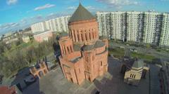 Car traffic on street near cathedral Armenian church Surb Khach - stock footage