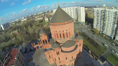 Cityscape with complex of cathedral Armenian church Surb Khach Stock Footage