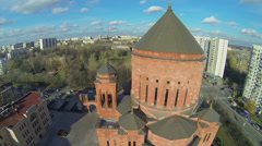 Cars ride by street near cathedral Armenian church Surb Khach - stock footage
