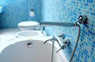 Stock Photo of Blue bathroom