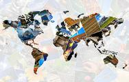 Stock Illustration of Collage world map