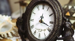 Time-lapse of beautiful, antique clock with decorations. - stock footage