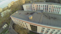 Edifices of school and kindergarten near dwelling houses - stock footage