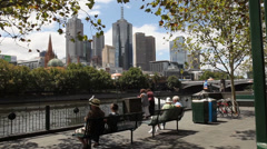 View on promenade at Yarra river, Melbourne 2 Stock Footage