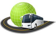 Stock Illustration of tour bus on the road around the globe
