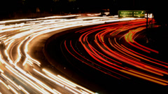 Time Lapse of Busy Freeway Traffic at Night Stock Footage
