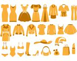 Stock Illustration of woman's clothes, fashion and accessory icon set
