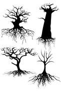Old tree silhouettes with roots Stock Illustration