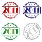 2011 Grunge stamp - stock illustration