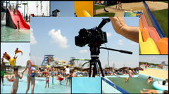 camera recording in aqua park  multi screen lot of a fun and summer happines - stock footage