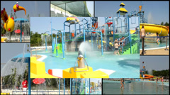 water can aqua  park  multi screen lot of a fun and summer happines - stock footage