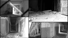 Concentration  Extermination war camp multi split screen Stock Footage