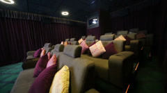 Review special hall with soft sofas in cinema at GUM Stock Footage