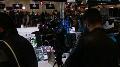 A line of professional cameras at BVE show in London Stock Footage