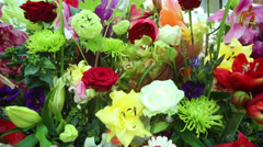 Beautiful bright large bouquet with different flowers. Stock Footage