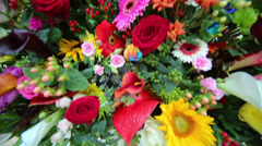 Different colored flowers beautiful bright large bouquet. Stock Footage