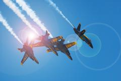 mankato, mn- june 9 us navy blue angels in f-18 air show - stock photo