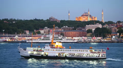 Sailing boat in the background of the evening Hagia st. Sophia Stock Footage