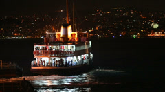 Passenger ship sails from shore in Istanbul, Turkey Stock Footage