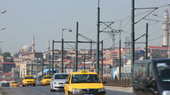 Daytime movement of cars on a Galata Bridge. Stock Footage