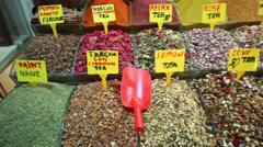 Varieties of petals tea in baskets in Istanbul, Turkey Stock Footage